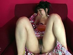Chubby Japanese geisha Chiharu is toyed by egg vibrator