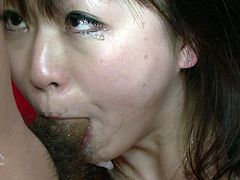 This extremely perverted Asian whore needs at least two men to satisfy her lust. She sucks their cocks with unrestrained passion like a dirty whore.