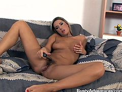 busty blonde plays gently with her dildo