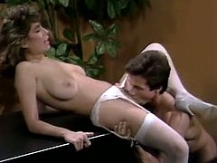 Christy Canyon is an extremely seductive office assistant! This gorgeous bruentte is sick and tired of her colleague's excuses. She wants to feel the taste of his married cock and this time she isn't taking no for an answer.