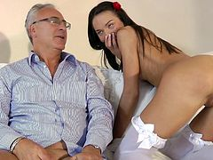 Young doll receives this fat cock to smack her shaved cunt and tight ass hole