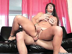 Anita Cannibal with gigantic knockers gives deep blowjob to hot fuck buddy
