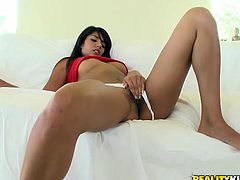 Fantastic brunette chick Shazia Sahari is getting naughty with some man indoors. She sucks and rubs his dick passionately and then they have some naughty banging in cowgirl position.