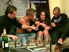 Lustful brunette bitch with small titties serves three horny studs after party. They screw her loose fuck holes in gangbang. At the end of the session she gets her face glazed in jizz and her mouth filled with fat cumshot.