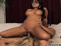 Two busty chicks with nice asses get pounded in FFM video