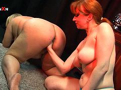 Curvy Sarah is a blonde BBW who will get toyed and fisted by the chubby redhead MILF Red Xxx in this kinky lesbian clip.