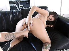 Anthony Rosano buries his stiff schlong in sex starved Samora Morgans snatch