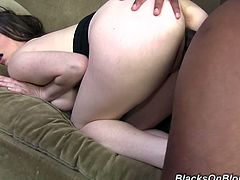 She was sad and alone and that black man said her few sweet words and took her to his home. He fucked hard her trimmed pussy and cum in her mouth.