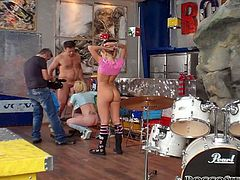 Kinky studs preffered harsh doggy style hammering with blond pussies