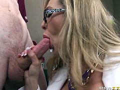 Brandi Love and her nurses are ready to cure this horny patient right away. After blowing his stiff cock she begs him to stick it deep inside her pussy like a champ.