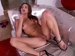 Go wild by watching this brunette with natural boobs fingering her own asshole, and putting gigantic vibrators inside her twat. Luvv doesn't need lubricants!