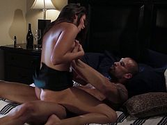 Beautiful Brunette Gets Her Hairy Pussy Ravished In The Bedroom