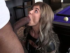 That black dude with huge hard rod fucked that beautiful cougar with fascinating hot body on pool table. Watch her enjoyment in this sex.