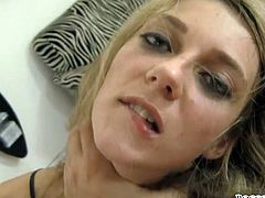 This blondie can be a real slut when she wants to. She fucks her pussy with her sex toy until she reaches sweet orgasms. Make sure you don't miss her hot masturbation session!