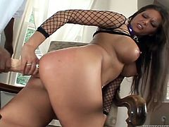 Ana takes on the biggest dildo you have ever seen when she spreads her legs wide open and drive the huge toy in her tight ass.