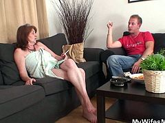 Light up a cigar, relax and enjoy what's about to happen. This guy and his wife's mom are into a serious conversation and soon, things will become a lot more serious. She knew he will come and she's determined to fuck her daughters man so Ivana took a shower before his arrival. Now let's see her get dirty!