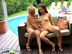 Big titties chubby hoe cunt fingers sweet pussy of hot tempered bonny brunette on sofa near pool and slides her gentle tongue over her clit. Watch this fuckish pussy eating in 21 Sextury sex clip!
