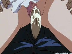 Masturbate watching this animated video where a cute brunette has to suck his boss's dick and crawl with a leash around her neck wearing underwear.