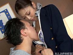 Check out this hardcore scene where the sexy Asian babe Reiko Kobayaka is fucked silly after taking off her stewardess uniform and being oiled up.