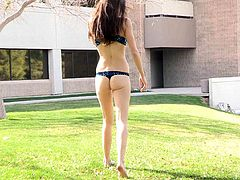 Press play on this solo scene and check out this naughty teen takes off her clothes and showing off her sexy body out in public.