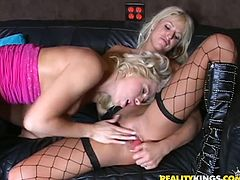 Brooke Haven and her sizzling GFs lick each other's big fake tits and get horny. Then they eat each other's cunts in 69 position and seem to be unable to stop.