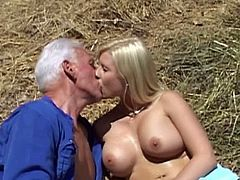 Oldje brings you a hell of a free porn video where you can see how a busty blonde belle gets fucked by an older dude in the farm while assuming very interesting poses.