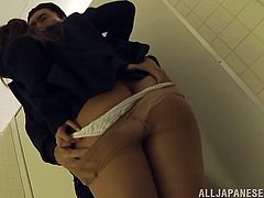 Seeing that Yuki is such a cute naive girl this guy dragged her into a public bathroom where he had some fun with her. There, He pulled down her nylons and panties, rubbed her pussy and then made her suck his cock. The scared girl opened wide and swallowed his dick while he pulled her head into it.