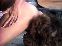 One guy gets lucky to fuck two well stacked blonde and brunette chicks. Horny girls ride his big dick in turn and get their dirty asshole fucked hard later.