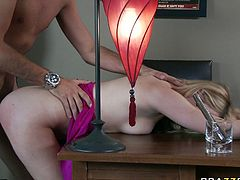 Well graced bootylicious light haired bitchy wench gets deep tremendous cock penetration in doggy position and hard fuck on table edge. Take a look at this hot blondie in Brazzers Network porn clip!