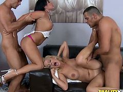 Have a look at this hardcore scene where these heart stopping babes get nailed by two large cocks in a foursome.