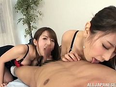 These two sizzling Japanese betties are making out with this dude. That double blowjob was great and then one sits on his face, while the other one rides his cock!