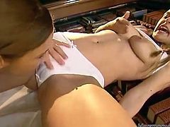 They are not doing their homework for sure. Two sluts get on each other and then this dude joins their games. Such a hot threesome, as a result.