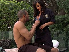Awesome MILF Lisa Ann arresting big black cock to destroy her delicious cunt. She makes that long dong hard and jumps on it to ride it wild.