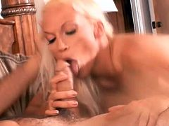 Amazing blonde hottie Nicki Hunter is having fun with some guy in a bedroom. She licks and rubs the stud's boner and then they bang in cowgirl, missionary and other positions.