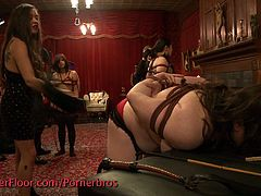 Check out these horny people involved into some wild BDSM orgies on the upper floor. They all switch turns to dominate each other!