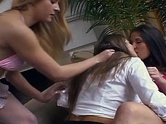 See two horny blondes and a naughty brunette munching and dildoing their shaved slits into breathtaking explosions of orgasmic pleasure. Nikki Nieves, Rita Faltoyano and Valerie Vazquez are ready for a hot threesome.