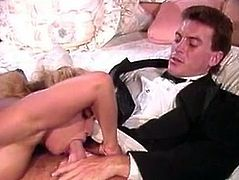 Watch this horny and slutty chick pleasing two jekrs at her wedding day in her bedroom in front of the camera in The Classic Porn sex videos.