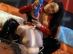 Dirty gals in latex costumes are playing rough with their pussies during femdom action