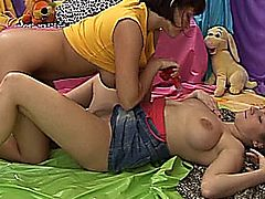 Seductive busty young lesbian teen chicks fucking licking and toying their petite shaved pussies