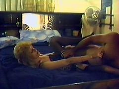 Retro chick in stockings and a corset gives a blowjob and also gets her pussy licked. Then this slut gets fucked in a missionary position.