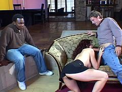 She loves XXL sized cocks only and this dude is here to supply with one like that! Honey blows it and then he stuns from the way her pussy rides him.