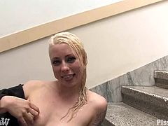 Prepare your cock for this tattooed blonde with giant love pillows, while she gets all wet sucking and licking this dude's meaty stick!