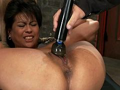 Chubby brunette milf Max Mikita gets bound by some dude in a basement. The guy rubs Max's pussy with a dildo and she moans loudly with pleasure all the time.