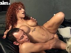 Get a load of this hardcore scene where these two cock thirsty ladies share this guy's thick cock in a threesome that leaves them out of breath.