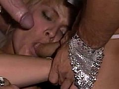 Slutty Debi Diamond screams of pleasure during rough anal threesome show