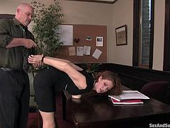Horny Sabrina Fox gets tied up by her boss right in an office. He whips her painfully and pours hot wax on her breast. After that she gets her vagina drilled.