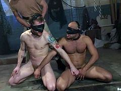 Van Darkholme, Sebastian Keys and two more fags are having some good time in a jail. The slaves get bound by the masters and undergo many tortures before getting their assholes drilled.