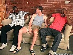They were sitting on the couch and then something strikes Gabriel and he starts sucking these two black dudes! Then they fuck his ass.