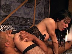 Salacious dark-haired ladyboy Jordan Jay is having a great time with some horny black stud. She allows the guy to face-fuck her and then welcomes his BBC in her butt.