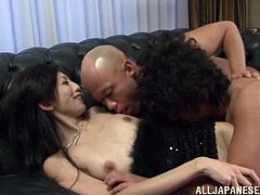 Get a load of this hardcore scene where these guys have fun with this horny Asian babe in a threesome.